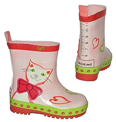 Gummistiefel - Katze - Größen 20 bis 28 - für Kinder - Mädchen - Naturkautschuk + Innenfutter 100 % Baumwolle / Regenstiefel Handbemalt mit 3-D Effekt - Tiere Katzen Kätzchen rosa Herzen