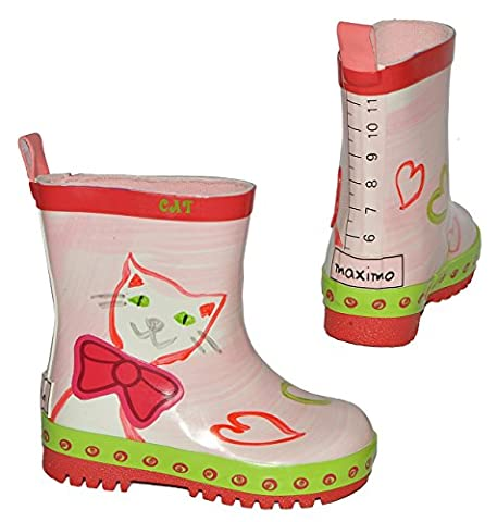 Gummistiefel - Katze - Größe 22 - für Kinder - Mädchen - Naturkautschuk + Innenfutter 100 % Baumwolle / Regenstiefel Handbemalt mit 3-D Effekt - Tiere Katzen Kätzchen rosa Herzen