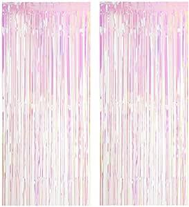 foto fai-da-te decorazioni per tende con nappine glitterate per Natale 2 pezzi di tende con frange in lamina Tende metallizzate dorate compleanno Halloween matrimonio (1x2,5 m)