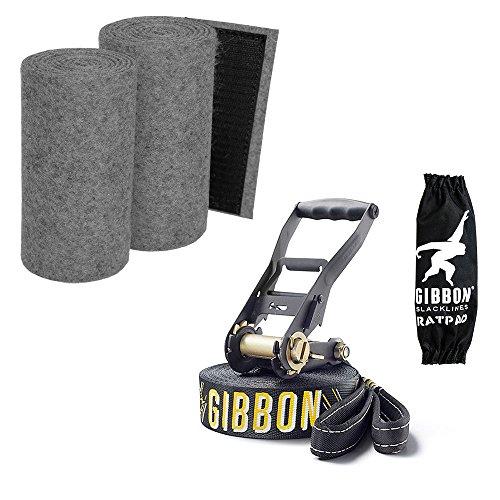 """Preisvergleich Produktbild SLACKWEAR Slackline Set mit """"SafetyTree"""" Baumschutz Grau + Jibline X13 von Gibbon Slacklines"""