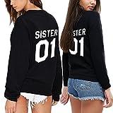 Ziwater Best Friends Pullover 2er Set Sister Partner Sweatshirt mit als Geschenk Valentinstag Symbolische Liebe T-Shirt (Sister-S+Sister-S, Schwarz)