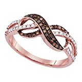 14 K oro rosa redondo Chocolate Marrón Diamante Anillo Infinito (1/3 quilates)