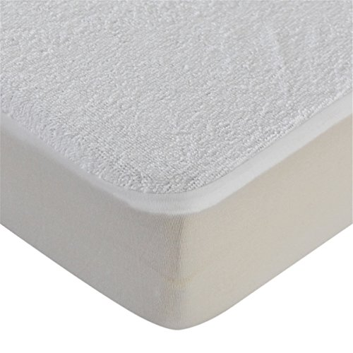 Waterproof and Breathable Terry Towelling Cotton Travel Cot Size Mattress Protector, 65x95cm,White,Pack of 2
