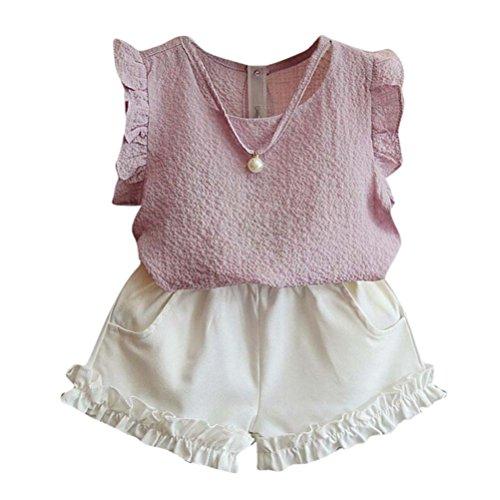 Outfits Sets Kind Janly 0-7 Jahre alte Mädchen Rüschen Bluse Hemden + Taschen Kurze Hose Sommer (5-6 Jahre alt, Rosa)
