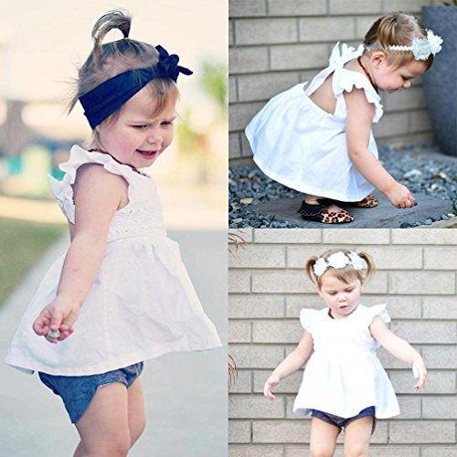 Rawdah Summer Newborn Baby Infant Girls Hollow Backless Princess Robe Vêtements Outfits Blanc