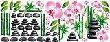 GRAZDesign 771025 Wandsticker Set Badezimmer Massagesteine Bambus und Orchideen Blüten, 150x57