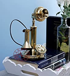 Akhandstore Golden Retro Brass Telephone Home Decor Model Small Size (NON WORKING ONLY FOR DECOR)