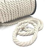Zick-Zack Die Stoffidee 5m gedrehte Baumwoll Kordel Natur, Durchmesser: 10mm, 100% Baumwolle