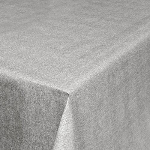 ANRO Wachstuchtischdecke Wachstuch Wachstischdecke Tischdecke abwaschbar Grau Leinenoptik 240 x 140cm