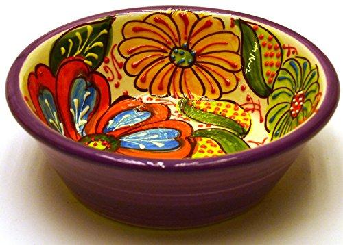 Art Escudellers Geschirr aus Keramik, handgefertigt und handbemalt, Blumendeko, Violett Coupelle Nº4 (Handgefertigtes Geschirr Keramik)