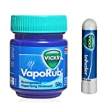 VICKS VAPORUB + FREE INHALER * FAST RELIEF COLD & COUGH / FLU / NOSE CONGESTION