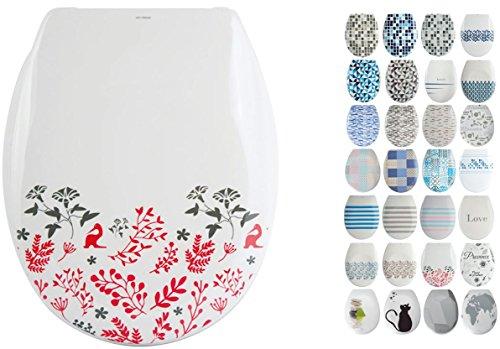 """MSV Design WC Sitz abnehmbar, Absenkautomatik, Fast Fix/Schnellbefestigung, Befestigung mit Knopfdruck, Toilettensitz WC Deckel Klobrille """"Brique"""" Beige, Weiß"""