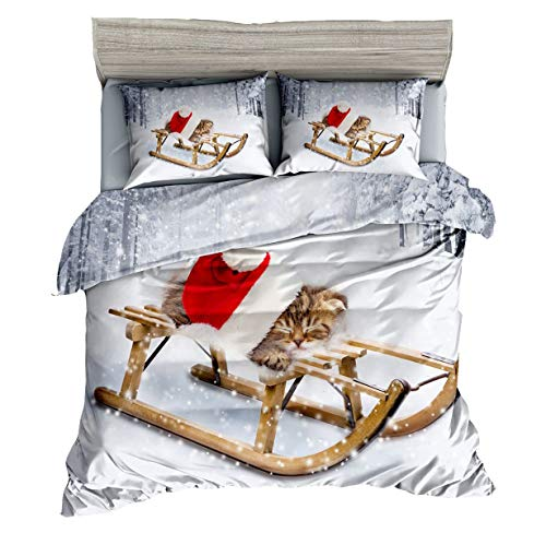 HUANZI Duvet Cover Set, 3D Cat And Sled Print Pattern, Christmas Decoration Bedding Set, White, TWIN-180 * 220CM