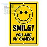 bienternary Smile You Are on Kamera Gelb Aluminium Schild Blechschilder Vintage Road Schilder Dose Teller Schilder Dekorativer