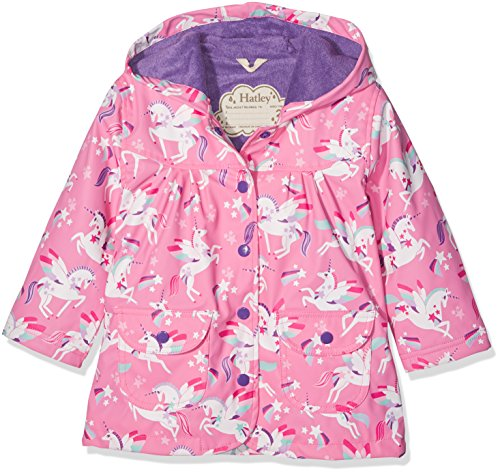 Hatley Girl's Printed Raincoat, Pink (Winged Unicorn), 8 Years