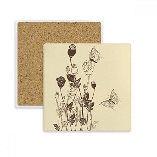 DIYthinker Rose Schmetterling Blätter Blumen Plant Square Coaster-Schalen-Becher-Halter Absorbent Stein für Getränke 2ST Geschenk Mehrfarbig - Square Schmetterling Blatt