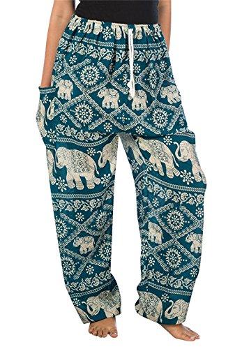 Lofbaz Mujer Tailandés Elefantes Cordón Harén Boho Pantalones Verde Trullo 2XL