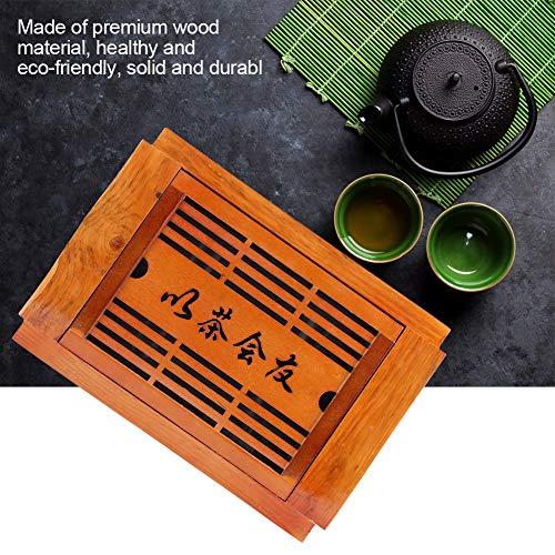 Aufee Tee-Tablett, Fester hölzerner Tee-Behälter-Wasserspeicher chinesischer GongFu Tee-Serviertablett für Innenministerium, Fach-Art Design mit Einem Wassertank