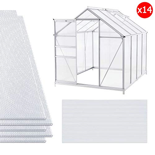 NAIZY 14x Polycarbonat Hohlkammerstegplatten, 4mm | 10,25 m² Doppelstegplatte für Gewächshaus Garten Treibhaus Ersatzplatten (60.5 x 121cm)