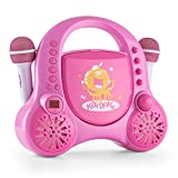 auna Rockpocket A-PK • Kinder Karaoke Anlage • Karaoke Player • Karaoke Set • 2 x Mikrofon • CD-Player • optionaler Batteriebetrieb • Tragegriff • pink
