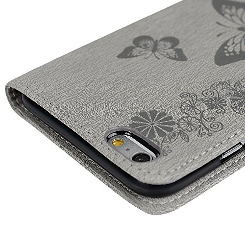 KASOS Housse Étui Coque Iphone 6 6S Plus, Case Coque en PU Cuir & TPU Ultra Slim Mince à Rabat Flip Cover Porte-carte Coque Étui Iphone 6 6S Plus Dessin Relief Papillon-Gris + Bouchons Poussière + Sty Gris