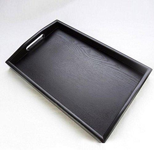 Rechteckige Osmanischen (Super UD Holz Serviertablett Dekoratives Tablett rechteckig osmanischen dienen für Lebensmittel Kaffee oder Tee, holz, schwarz, xl)