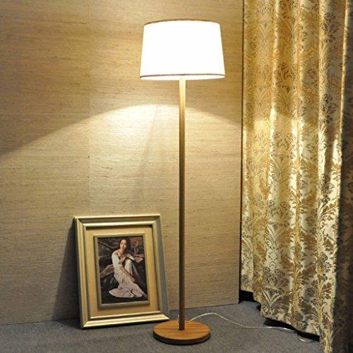 *Stehlampe Stehlampe, Eisen Nachahmung Holzmaserung Fernbedienung Stoff Lichter Schlafzimmer Wohnzimmer Licht 51-60 Watt Stehlampe gewölbt (Farbe : Hand pull switch+7WLED)