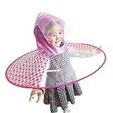 TAOtTAO Faltbarer netter Regen-Mantel UFO-Kinder/erwachsener Regenschirm-Hut-magische Hände geben Regenmantel frei (rot, M)
