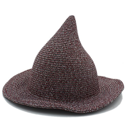 WUXUN-HAT Einfacher Wilder Strand kühl Frauen und Männer Gandalf Witch Wizard Party Carnival Halloween geflochtenen Hut Leisure Travel Sonnencreme Atmungsaktiv (Farbe : Weinrot, Größe : 57-58 cm)