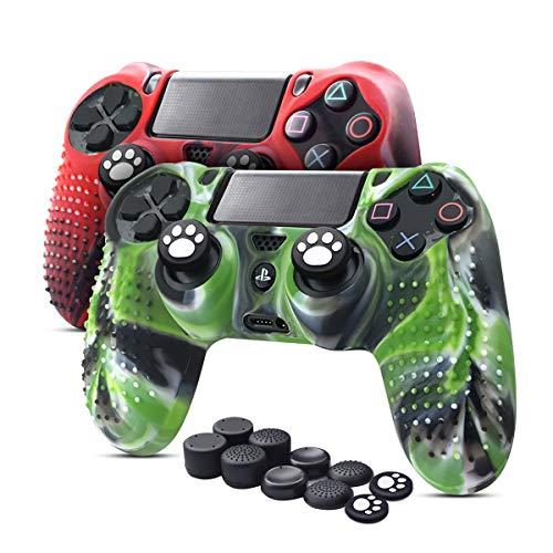6amLifestyle Cover Skin Controller PS4 Dualshock in Silicone Antiscivolo, 2 Cover Controller PS4 (Rosso + Verde) + 10 Gommini per Le Levette Analogiche per Joystick PS4 / PS4 PRO / PS4 Slim