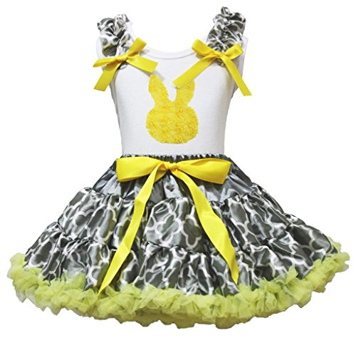 Easter Rose Bunny White Top Yellow Gray Quatrefoil Clover Skirt Outfit Set 1-8y (5-6 ()