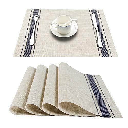4 Teile/Los PVC Dekorative Vinyl Tischsets Für Esstisch Läufer Leinen Tischset In Küche Zubehör Tasse Coaster Pad (Color : Navy Blue(B), Size : Set of 10) (Blue Navy Tischdecke Vinyl)
