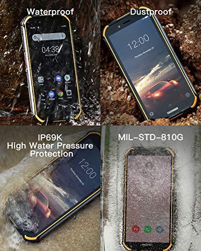 DOOGEE S40 4G Télephone Portable Incassable Debloqué, 3GO+32GO Android 9,0 Smartphone Antichoc Etanche IP68/IP69K 5,5'' Dual SIM, 4650mAh Cameras 8MP+5MP, NFC Empreinte Digitale Face ID - Noir