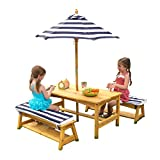 KidKraft Outdoor Kids Table & Bench Set with Cushions & Umbrella - Navy & White Stripes