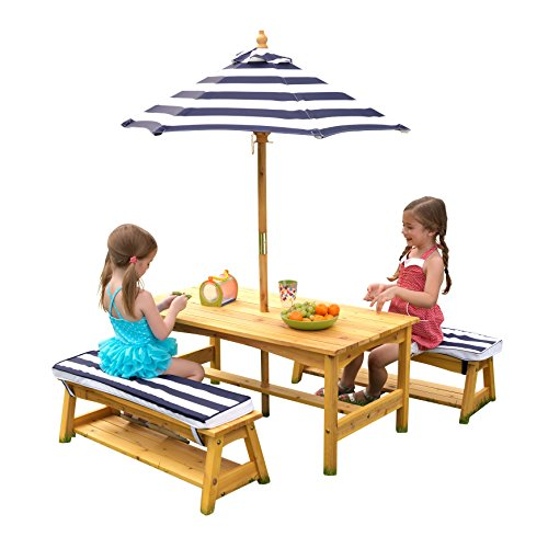 KidKraft 106 Wooden Outdoor Table Bench Set with Pillows and Umbrella, Garden Furniture for Children and Kids, Navy and White Stripes