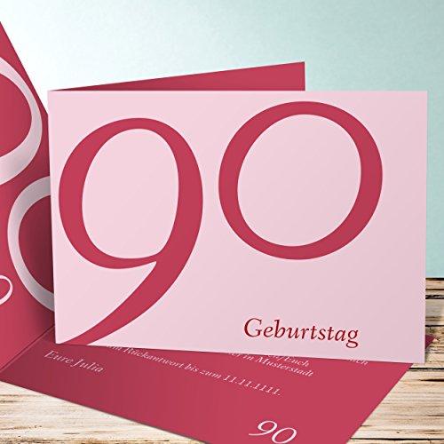 Geburtstagseinladungen online gestalten, Meine Neunzig 140 Karten, Horizontale Klappkarte 148x105 inkl. weiße Umschläge, Rot