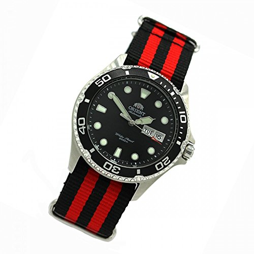 Orient 5Deep Automatic Day Date Mako II Diving Watch Diver Men's Watch Nato Black/Red FAA02004B
