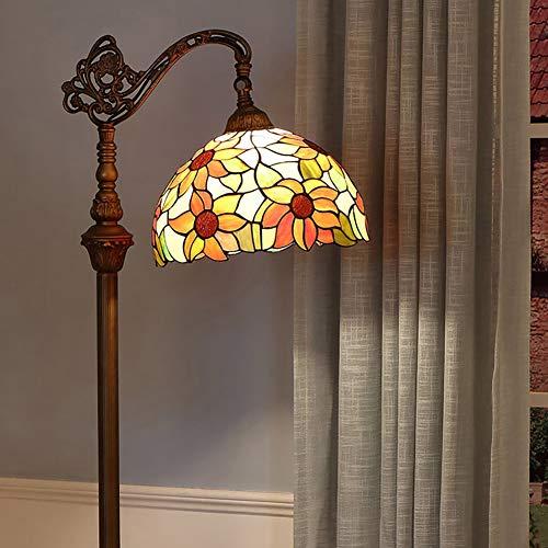 AIBOTY Tiffany Stil Stehleuchte 12 Zoll Sonne Blume Glas Licht für Schlafzimmer Wohnzimmer Restaurant Bar Clubhouse Villa Beleuchtung Fernschalter Stehlampen