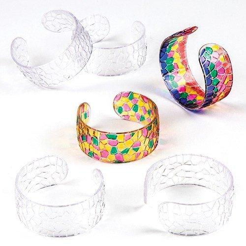 Baker Ross Transparente Mosaik-Armreifen aus Acrylglas für Kinder zum Bemalen - Schmuck - Armspangen - 6 Stück