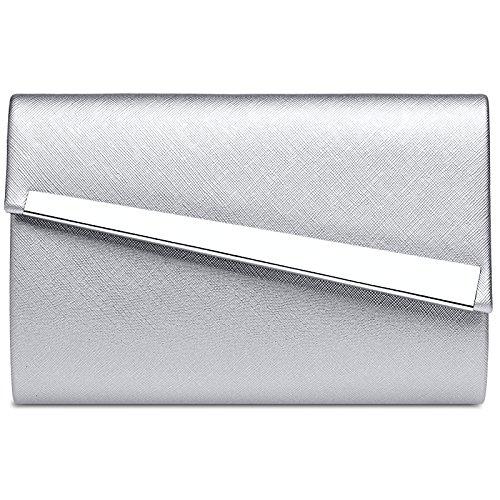 CASPAR TA418 Donna Pochette Asimmetrica, Colore:argento;Dimensioni:Taglia unica