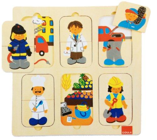 Preisvergleich Produktbild Unbekannt Goula D53070 - Holzpuzzle Berufe, 12-teilig