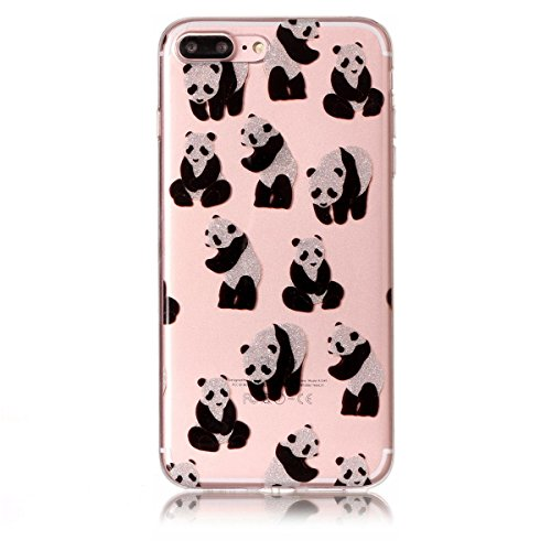 iPhone 7 Plus Hülle ,Fodlon® Ultra Slim Fit TPU Gel Skin BlinkenPulver Schutzhülle / Case / Cover -Saflorschmetterling Panda
