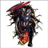 JUNMAONO 3D Captain America Wandaufkleber/Wandgemälde/Wand Poster/Wandbild Aufkleber/Wandbilder/Wandtattoo/Pinupbild/Beschriftung/Pad einfügen/Tapete/Tapezieren/Tapeten/Wand Zeitung/Wandmalerei/Haftnotiz/Fühlen Sie sich frei zu kleben/Instant Aufkleber/3D-Stereo-Wandaufkleber