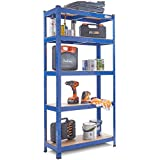 VonHaus 5 Tier Racking/Garage Shelving Heavy Duty Industrial Steel & MDF Boltless Shelves - 875kg Capacity/175KG Per Shelf | 150cm H 75cm W 30cm D