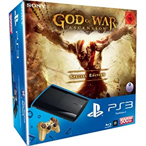 PlayStation 3 – Konsole Super Slim 500 GB (inkl. DualShock 3 Wireless Controller + God of War Ascension Special Edition)