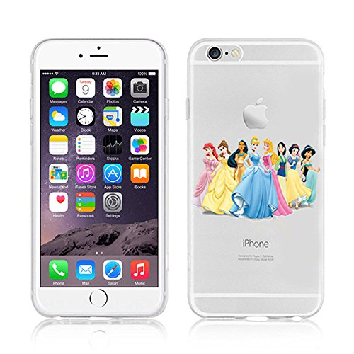 NEW DISNEY PRINCESSES TRANSPARENT CLEAR TPU SOFT CASE FOR APPLE IPHONE 8 PLUS - AREIL 3 PRINCESSES