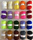 Bumper Pack 20 x 25g ball assorted - 1500 meters of yarn! Colors as shown- 100% acrylic knitting yarn crochet crafts