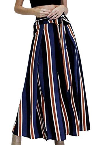de-color-de-las-mujeres-rayas-laterales-raja-pantalones-de-pierna-ancha-blue-l