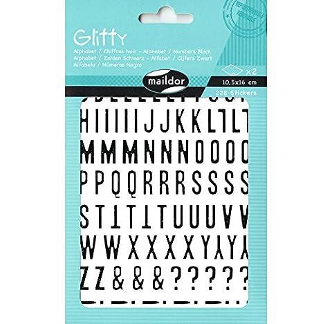 maildor Glitty Sticker Alphabet Buchstaben & Zahlen schwarz / 228 Stickers / 10,5x16cm (2x)