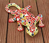 "Garden Mile® 9"" Mosiac Lizards Gecko Wall Mounted Or Free Standing Colourful Hand Painted Garden Ornament For Garden Decoration Made From Tough Durable Resin. Garden Decor Wall Art from Garden mile®"